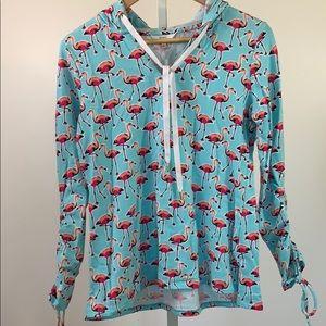 CROWN & IVY Flamingo Hoodie Blue/Pink SZ S